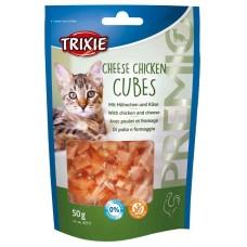 Trixie PREMIO Cheese Chicken Cubes - лакомство для кошек / кубики с курицей и сыром