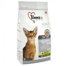 1st Choice Hypoallergenic Adult Cats - гипоаллергенный сухой супер премиум корм для котов с уткой и картошкой