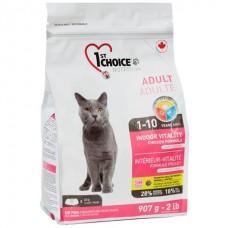 1st Choice Indoor Vitality Adult - сухой супер премиум корм для котов с курицей