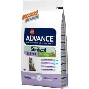 Advance Cat Sterilized Hairball - корм для вывода шерсти у стерилизованных кошек / с индейкой