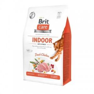 Беззерновой корм для взрослых кошек «Brit Care Cat GF Indoor Anti-Stress» | Корм «Брит Саре Коты Индоор Анти-Стресс»: Пробиотики и пребиотики - здоровое пищеварение | страна-производитель: Чехия | Petplus