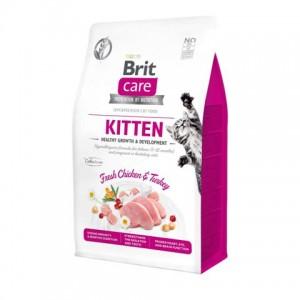 Беззерновой корм для котят, а также беременных и кормящих кошек «Brit Care Cat GF Kitten HGrowth & Development» | Корм «Брит Каре - Котята - Рост - Развитие»: иммуноглобулины - антитела | страна-производитель: Чехия | Petplus