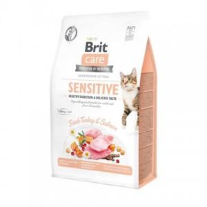 Беззерновой корм для взрослых кошек «Brit Care Cat GF Sensitive HDigestion & Delicate Taste» | Корм «Брит Саре - Коты - Привередливые к еде - Нежный вкус»: Пробиотики и пребиотики - здоровое пищеварение | страна-производитель: Чехия | Petplus