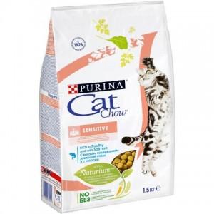 Cat Chow Adult Sensitive - для кошек с чувствительным пищеварением / лосось и рис