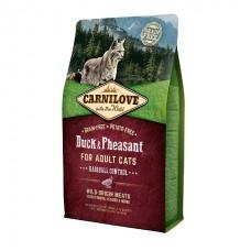 Carnilove Cat Duck & Pheasant Hairball Control с уткой и фазаном для выведения комков шерсти