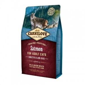 Carnilove Cat Salmon Sensitive & LongHair с лососем для взрослых кошек с чувствительным пищеварением и длинношерстных кошек