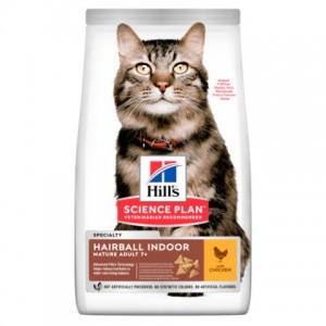 Сухой корм Hill's SP Hairball Indoor Mature Adult 7+ для выведения шерсти у домашних кошек старшего возраста, с курицей