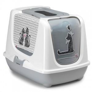 Купить закрытый туалет для кошек c угольным фильтром и совком Moderna Trendy Cat Cats in Love   Качество   Цена   PETPLUS