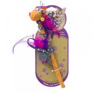 Hartz Just For Cats Twirl and Whirl Cat Toy - удочка с перьями и мягкой игрушкой (пчела, мышка) с кошачьей мятой
