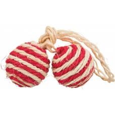 Trixie 2 Balls on a Rope - Игрушка 2 мячика из волокна сизаль для кошек