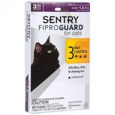 FiproGuard Sentry for Cats 3 in 1 - капли от блох, клещей, вшей для котов и котят возрастом от 8-ми недель и весом от 0,7 кг.