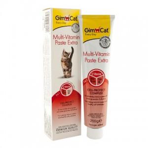 Витаминный комплекс из 12 витаминов для кошек «Gimcat Multi-Vitamin Paste Extra» - паста для здоровья и бодрости Вашего питомца | (Gimpet / ДжимКэт): стимулирует иммунную систему | страна - производитель: Германия | зоомагазин Petplus