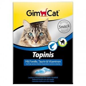 Витаминный комплекс для кошек «Gimcat Topinis Mit Forelle» - таблетки для здоровья и бодрости Вашего питомца | (Gimpet / ДжимКэт): стимулирует иммунную систему | страна - производитель: Германия | зоомагазин Petplus