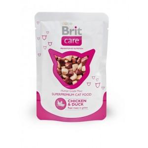 Brit Care Cat Chicken & Duck Pouch влажный корм в паучах для кошек с курицей и уткой
