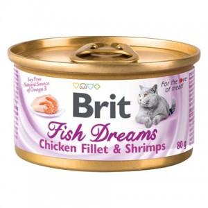 «Брит Фиш Дримс Филе Чикен » консервы для кошек | Кусочки курицы в соусе «Brit™Fish Dreams Chicken Fillet&Shrimps»: купите сейчас в зоомагазине Petplus | Экономьте время и деньги: подробное описание, обзор