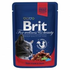 Brit Premium Cat Pouches with Beef Stew & Peas ● Влажный корм из рагу говядины с горошком для кошек / паучи