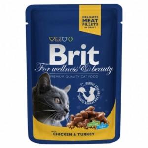 Влажный корм Brit Premium ✯ Курица и индейка для взрослых кошек