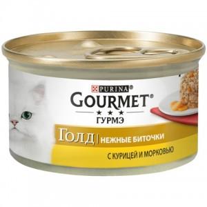 Gourmet консервы для кошек нежные Gourmet Gold биточки с курицей и морковью