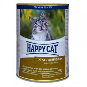 Happy Cat (Хэппи Кет) Adult Chicken and Duck Wet Food - влажный kонсервированный корм для кошек с уткой и цыпленком / кусочки в желе