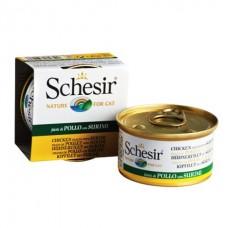 Schesir Chicken Surimi - влажный корм консервы для кошек, банка