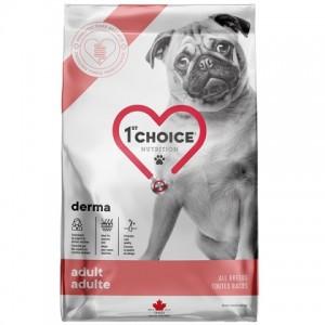 У вашей собаки проблемы с кожей? Сухой корм для собак «1st Choice Adult Derma» разработан ветеринарами и экспертами в области правильного питания: описание, продажа