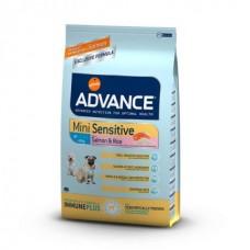 Advance Adult Mini Sensitive - корм для собак мини пород с чувствительным пищеварением / лосось с рисом