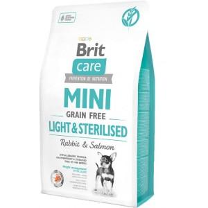 Brit Care Grain Free Mini Light and Sterilised - корм беззерновой для собак мини пород с избыточным весом или стерилизованных / лосось с кроликом