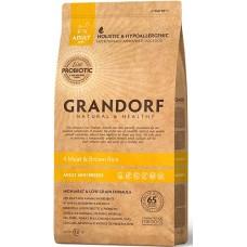 Grandorf 4 Meat & Brown Rice (Adult Mini 1-10 kg) - корм для собак мылых пород с полезными пробиотическими бактериями / 4 вида мяса с бурым рисом