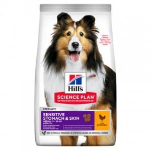 Сухой корм Hill's Science Plan Sensitive Stomach & Skin для взрослых собак средних пород с курицей   Petplus