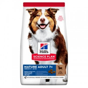 Сухой корм для собак средних пород старшего возраста с ягненком и рисом Hill's  Science Plan  Canine Mature Adult 7+ Active Longevity - Petplus