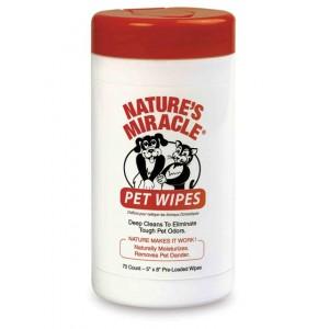 Natures Miracle Pet Bath Wipes - влажные очищающие салфетки, для собак и кошек