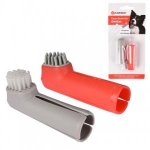 Набор щёток для собак и котов «Flamingo Finger Toothbrush Set» предотвращает образование зубного налета и зубного камня: описание
