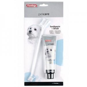 Karlie-Flamingo (КАРЛИ-ФЛАМИНГО) Petcare Toothpaste+Toothbrush - набор зубная паста и зубная щетка для собак