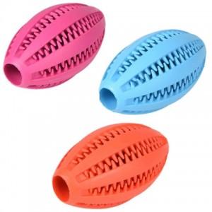 Резиновая игрушка для собак «Flamingo Dental Rugby Ball» обычный мяч для игр с питомцем: описание