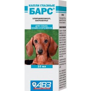 Капли глазные «Барс» для лечения и профилактики офтальмологических заболеваний у собак, кошек и кроликов