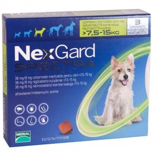 Nexgard Spectra for Dogs - жевательные таблетки от блох, клещей и глистов для собак от 7,5 до 15 кг
