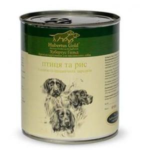 Купить немецкий консервированный корм Hubertus Gold, консервы для собак, Хубертус Голд ПтиЦей и РисОм, доставка корма для собак по Киеву и Украине