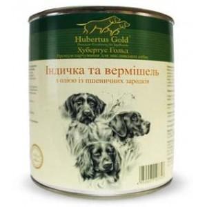 Купить немецкий консервированный корм Hubertus Gold, консервы для собак, Хубертус Голд ИндеЙка с ВермишелЬю, доставка корма для собак по Киеву и Украине