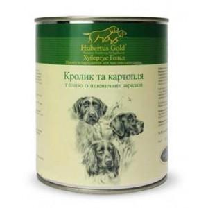 Купить Hubertus Gold, консервы для собак, Хубертус Голд кролик c картошкой, маслом из зародышей пшеничного зерна, доставка корма для собак по Украине