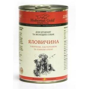 Купить немецкий консервированный корм Hubertus Gold, консервы для щенков и молодых собак, Хубертус Голд Говядина с Яблоком и Пастернаком и льняным маслом, доставка корма для собак по Киеву и Украине