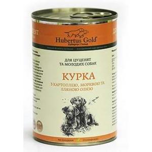 Купить немецкий консервированный корм Hubertus Gold, консервы для щенков и молодых собак, Хубертус Голд с Курицей, Картошкой, Морковкой и льняным маслом, доставка корма для собак по Киеву и Украине