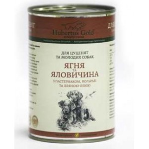 Купить Hubertus Gold, консервы для щенков, Хубертус Голд с ягнёнком, говядиной, пастернаком и кольраби, доставка корма для щенков по Киеву и Украине