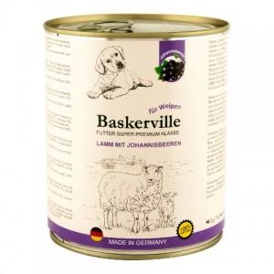 Консервированный влажный корм из Германии, ежедневный рацион для щенков, консервы с витаминными добавками, питательные, легкоусвояемые, Баскервиль «Baskerville Super Premium Lamm Mit Johannisbeeren» с ягненком и смородиной - Petplus