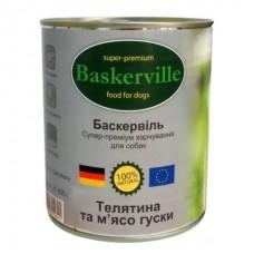 Baskerville Super Premium Wet Food - консервы для собак с телятиной и мясом гуся