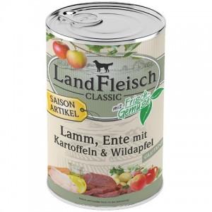 Консервы Ланд Фляйш «LandFleisch» для взрослых собак с ягненком, уткой, картофелем и диким яблоком