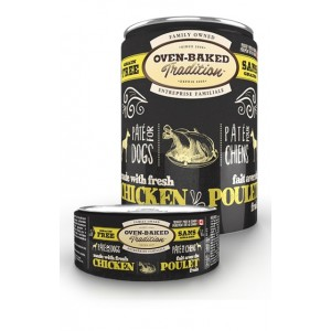 Натуральные консервы для собак: «Овен-Бакед Традишн» - влажный корм приготовленный из свежего мяса курицы в паштете для собак | Дополнительное беззерновое питание Oven-Baked Tradition GF Dog Chicken Pate - консервы из Канады | Petplus