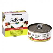 Schesir Chicken Аpple - влажный корм консервы для собак, банка