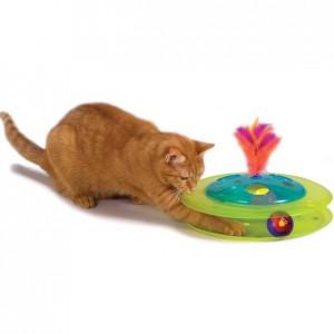 PETSTAGES Sights&Sounds Birdie Chase • Игрушка для кошек «Музыкальный Трек с мячиком и птичкой»