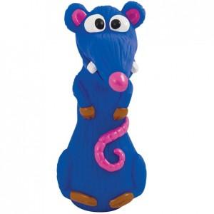 PETSTAGES Lil Kooky Rat ○ Игрушка-пищалка для малых и средних пород собак «Синяя Крыса Розовый Нос»