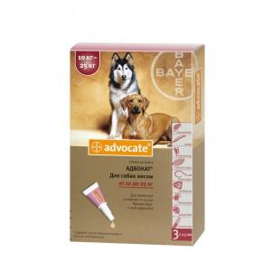 Средства защиты Bayer Advocate (Адвокат), капли для собак весом от 10 до 25 кг